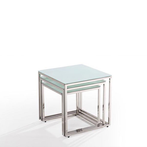 Modern Nest Of 3 Clear Tempered Glass Coffee Table Side Tables With Chrome Legs Ebay