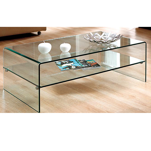 Tempered Glass Coffee Table With Drawers: BN Modern Rectangle Hot-bending Tempered Bent Clear Glass