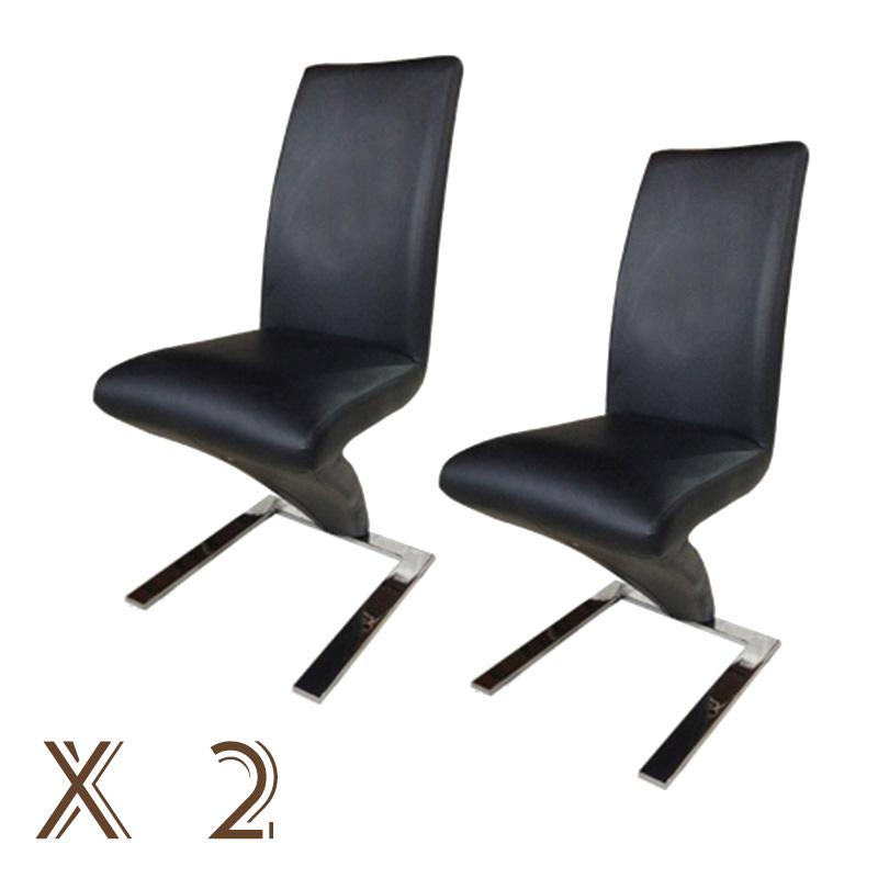 2PCS BN Z SHAPE BLACK CHAIRS SOFT LEATHER SEAT CHROME LEGS  : x2black from ebay.co.uk size 800 x 800 jpeg 66kB